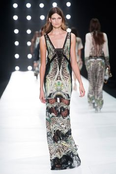 Sheer leg maxi dress, Roberto Cavalli Spring 2013