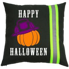 Halloween Firefighter BLACK Pillow - Pumpkin with Fireman Helmet Firefighter Halloween, Firefighter Gifts, Halloween Pillows, Black Pillows, A Pumpkin, Trick Or Treat, Happy Halloween, Helmet, Throw Pillows