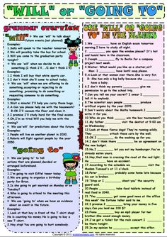 Future Tense ESL Printable Worksheets and Exercises English Grammar For Kids, English Grammar Rules, English Exam, English Worksheets For Kids, English Lessons, Learn English, English File, Grammar Exercises, English Exercises