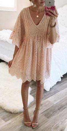 Pink eyelet dress.
