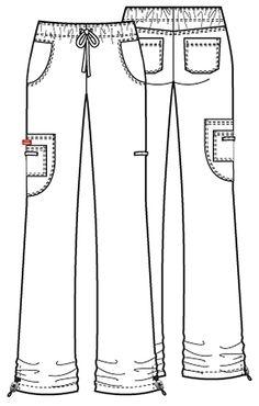 Dickies Medical 82002 Pantalon Tipo Cargo con Jareta para Mujer - BODEGA DE UNIFORMES DICKIES | CHEROKEE | IGUANAMED | HEART SOUL | CODE HAPPY | SLOGGERS | ANYWEAR Scrubs Outfit, Scrubs Uniform, Scrubs Pattern, American Uniform, Flat Sketches, Medical Uniforms, Uniform Design, Medical Scrubs, Sewing Clothes