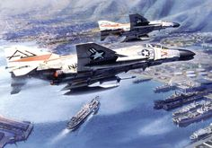 F-4 Phantom Vietnam art | example of three-point perspective in one of Gary Meyer's paintings ...
