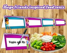 Lego Friends Inspired Food Tent Cards Lego by InstaBirthday