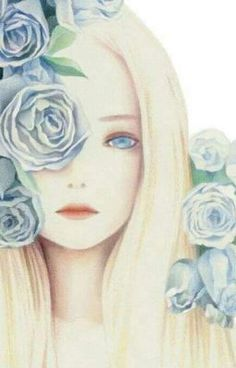 bluerosegarden by 클라우드 on Grafolio Anime Art Girl, Manga Art, Tumblr Gril, Anime Fantasy, Fantasy Art, Image Manga, Girls With Flowers, Pretty Art, Female Art