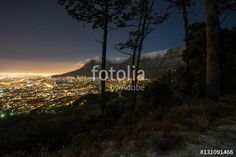 Cape Town city and Table Mountain at night