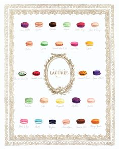 Laduree Macaron Flavors Menu Chart Giclee Print of Watercolor Paris Photography Art Travel Paris France Gift for Her Gift under 25 under 50
