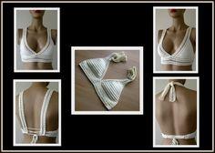 EXPRESS CARGO Crochet Cream Top Cream Bikini Top by formalhouse