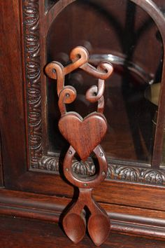 Vintage Wooden Carved Welsh Double Love Spoon by ScavengersNest