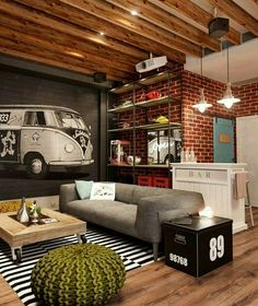 Hipster inspired man cave space