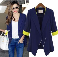Navy Blue Womens Lapel Mid sleeve Thin Spring Summer Blazers Jackets Coat Suit | eBay