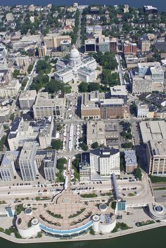 Aerial view of the isthmus, Madison WI..  Home was next to new hotel in the foreground.  Bellvue.
