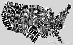 Typographic map of the US by Intrepix, via Dreamstime