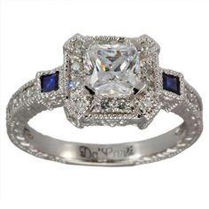 Diamond and Sapphire Wedding Ring Sets   DaCarli   Antique Diamond And Sapphire Princess Cut Engagement Setting