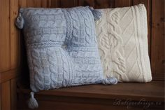 cool, knitted pillows Modern Pillows, Knit Pillow, Knitted Blankets, Knitting Projects, Cushions, Throw Pillows, Crafty, Afghans, Cool Stuff