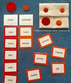 "Exploring parts of speech the Montessori way. The next step in this grammar activity was to use as many of these adverbs to describe just one verb. We ended up with, ""play happily, carefully, quietly, playfully, twice."" The handmade pouch is from CobbleWorks on Etsy."
