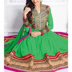 Green Embroidered Georgette Anarkali Suit