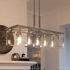 Shop Luxury Modern Farmhouse Chandelier, x with Industrial Chic Style, Brushed Nickel Finish by Urban Ambiance - Overstock - 22812023 Modern Farmhouse Lighting, Farmhouse Light Fixtures, Farmhouse Chandelier, Kitchen Chandelier, Modern Farmhouse Bathroom, Linear Chandelier, Modern Farmhouse Exterior, Farmhouse Interior, Modern Farmhouse Style