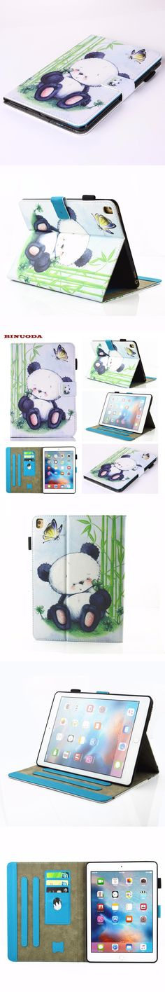 For iPad Pro 9.7 Case New Arrival Cute Panda Flip Folio Book Stand Cover for Apple iPad Pro 9.7 Coque Capa with Soft TPU Skin