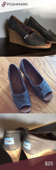 Toms peep toe cork wedge Bronze metallic denim peep toe wedge with one inch cork platform. Super comfortable. Barely worn. Size 6 1/2 W. TOMS Shoes Espadrilles