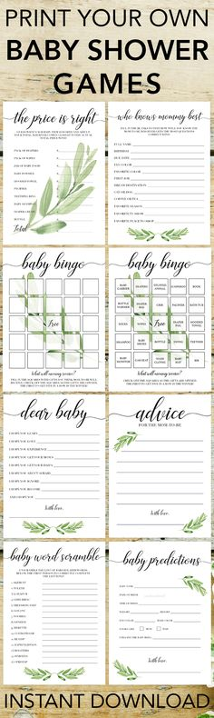Popular baby shower games by LittleSizzle. Click through to download yours or re-pin for later! Printable games for baby shower gender neutral. Entertain large groups of guests with these gorgeous greenery printable games for baby shower. Perfect for any green or botanical themed party. #babyshowergames #babyshowerideas #printable #DIY #genderneutral #green