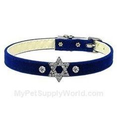 Mirage Pet Products Star of David Charm Collar for Dogs, 16-Inch, Velvet