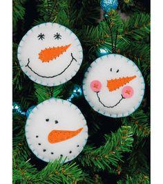 """Snowman Smiles Ornaments Felt Applique Kit-3.5"""" Round Set Of 3: felt applique: cross stitch: needle arts: Shop   Joann.com"""
