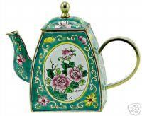 Kelvin Chen Enamel Mini Teapot Blossom in Green Teapot | eBay