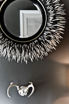 The porcupine quills seem so visually soft as the mirror frame. The black and white is stunning.