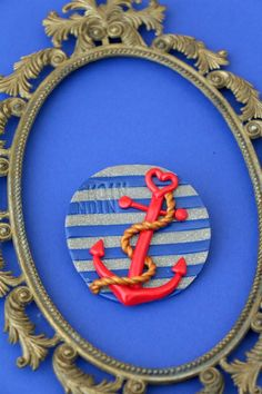 Hamburgliebe-Anker Brosche aus Fimo von MeMagic's auf DaWanda.com