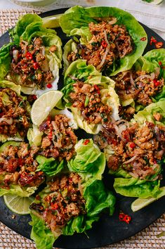 This chicken larb is packed with bright, delicious flavors and contrasting textures. Serve them in lettuce cups for a low carb option or with sticky rice! Pork Larb, Chicken Lettuce Cups, Larb Salad, Asian Recipes, Healthy Recipes, Chinese Recipes, Thai Recipes, Asian Foods, Pizza