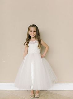 994fec05c18 Designer Amalee Girls Dress Style FG132- Sleeveless Lace and Tulle Dress  with Back Cutout