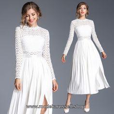 Elegantes Langarm Kleid in Weiß