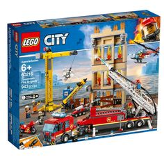 LEGO City Fire - Downtown Fire Brigade and thousands more of the very best toys at Fat Brain Toys. Build a massive fire ladder truck, a building under construction, a free-standing crane, a helicopter, and a motorbike! Construction Area, Construction Worker, Porsche 911 Rsr, Lego Disney, Legos, Lego City Fire, Figurine Lego, Lights And Sirens, Firefighter Gear
