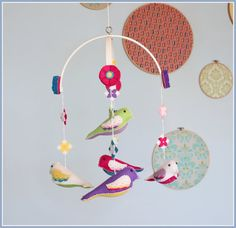 Baby Bird Mobile  Personalized  Tropically by BeeJanieBabyMobiles, $75.00