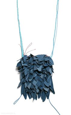 Hyorim Lee - necklace, 2012, leather, beads, string - pendant: 130 x 100 x 30 mm, €715
