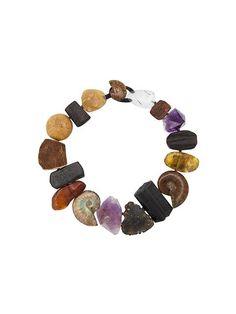 Monies Halskette mit Steinen und Fossilien