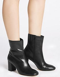 Buy the The Wade Leather Boot from Marks and Spencer's range. Alexa Chung, Black Noir, Spencer, Leather Boots, Fall Winter, Women Wear, Booty, My Style, Archive