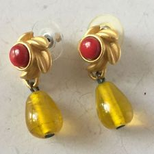 Gold plated satin finish top with red coral color cabochon and honey ... Lot 157