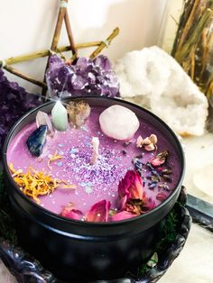 A powerful crystal candle for protection, Prosperity abundance and self esteem💕 infused with calendula, peach blossom, peony and magick .. #crystals #CrystalCandles #Candles #Decor #witchy #witchcraft #wicca #boho #pink #velas #homemadecandles