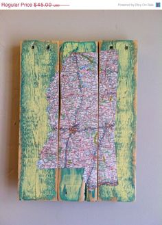 ON SALE Mississippi Map Decoupage Pallet Art Upcycled by AtomRouge