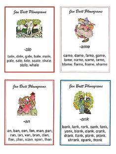 Jan Brett illustrated free phonogram word  lists