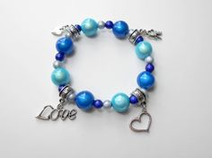 Blue Stretch Elastic Stacking Miracle Bead Bracelet with Charms