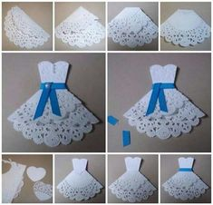 New Origami Dress Card Robes 26 Ideas Paper Doily Crafts, Doilies Crafts, Paper Doilies, Paper Lace, Diy Paper, Paper Flowers, Hobbies And Crafts, Diy And Crafts, Crafts For Kids