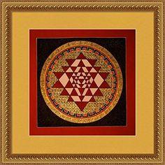 100% Hand Painted Tibetan Art , Wall Canvas Painting for Home Decoration - Shreeyantra Buddha Mandala Thanka / Thangka