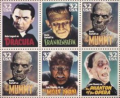 Vintage Monster Movie Stamps - which I happen to have all 6 of.