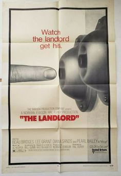 "The Landlord 1970 Original Movie Poster One Sheet 27"" x 41"" Beau Bridges Cellophane Tape, Norman Jewison, Pearl Bailey, Lee Grant, Original Movie Posters, Got Him, Being A Landlord, Bridges, The Past"