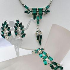 Art Deco 3 PC Parure Set Emerald Green Rhinestone Necklace Bracelet Earrings | eBay