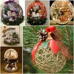 These yarn ball ornaments will look great hanging on Chrsitmas tree or at different lengths in a corner of a room.  Check tutorial--> http://bit.ly/1xEACjq