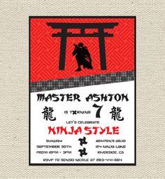 free ninja party printables | Ninja Birthday Invitation Printable by Giggles & Grace Designs | Catch ...