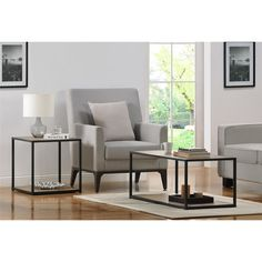 Features:  -Sleek and slim profile.  -Sonoma oak wood grain finish with gunmetal gray metal frame.  -Use as an end table or accent piece.  Shape: -Square.  Design: -Table.  Style (Old): -Modern/Indust
